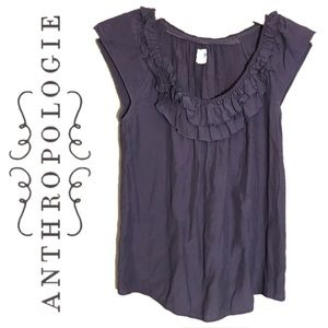 Edme & Esyllte Purple Sleeveless Ruffle Blouse